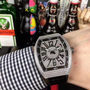 ICED OUT FRANCK MULLER VANGUARD REPLICA IN SILVER TITANIUM