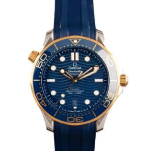Replica Omega Seamaster Diver 300 M 2 tone Sedna Gold & BLue Rubber Strap Replica