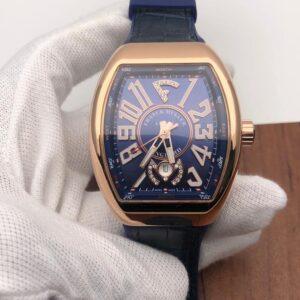 Franck Muller Vanguard V45 Yachting Rose Gold Blue Dial - Luxury dripstores
