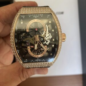 Iced Franck Muller Vanguard Yachting Anchor Skeleton Rose Gold - Luxury dripstores